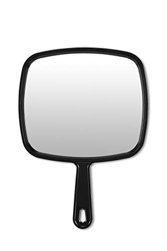Mirrornova Hand Mirror, Extra Large Barber Hairdressing Handheld Mirror with Handle for Salon, Square