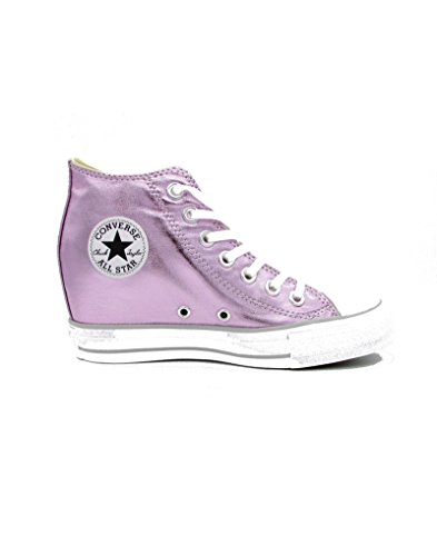 Converse Chuck Taylor All Star Lux Metallic Mid Top Shoes (7.5 B(M) US, Fuschia/ white / Mouse)