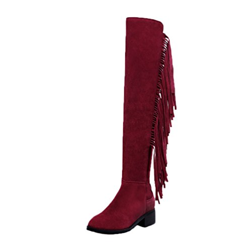 HooH Women's Leather Hand Made Boots Tassel Riding Boots Red hXc8C8Zhk
