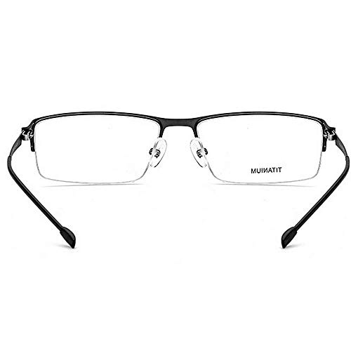 Titanio Negro Cuadrada Forma Lente Gafas Flexibles Ligero Fibra rebordes de sin con aleación Peso Clara de Negocios de Acetato Semi de Anteojos 71HqpxgI