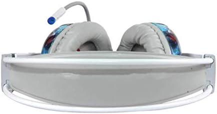 RENKUNDE ホワイト漫画のパターンケーブルゲームヘッドセット、簡単なヘッドセット調節可能なユニセックス ゲーミングヘッドセット