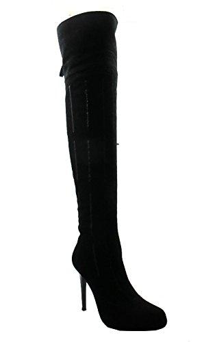 Dan Sara 7980 Botas De Tacón Alto De Gamuza Para Mujer Sobre La Rodilla