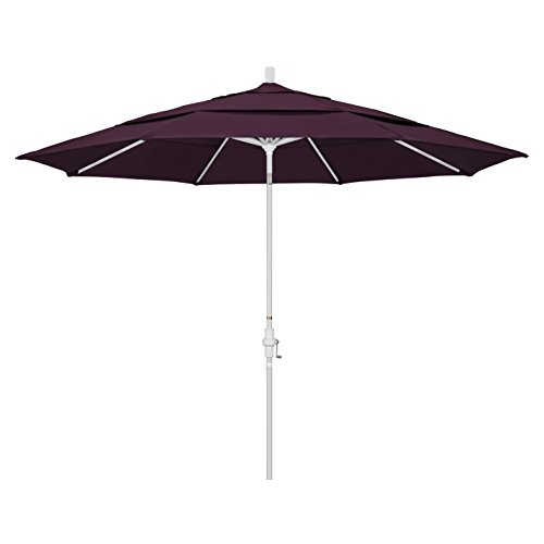 California Umbrella 11′ Round Aluminum Market Umbrella, Crank Lift, Collar Tilt, White Pole, Pacifica Purple For Sale