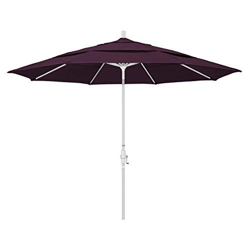 California Umbrella 11' Round Aluminum Market Umbrella, Crank Lift, Collar Tilt, White Pole, Pacifica Purple