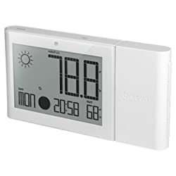 OREAV BAR268HGAW Oregon Scientific Weather Forecaster with Indoor/Outdoor Temp and Humidity Moon Phase Atomic Clock, White