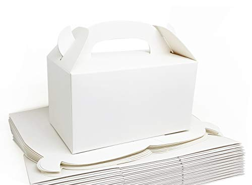 Monchii Treat Boxes Plain White Party Favor Boxes 6.25X3.5X3.5 inches Pack of 24pcs Premium Grade Party Supplies Boxes, Thicken Material Favor Boxes, Kids Goodie Box for Birthday, Shower, Events