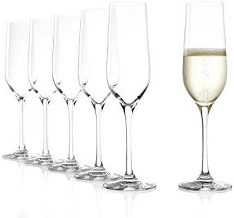 Copas para vinos espumosos Classic de Stölzle Lausitz, de 190 ml, Juego de 6, aptas para lavavajillas, de diseño Elegante