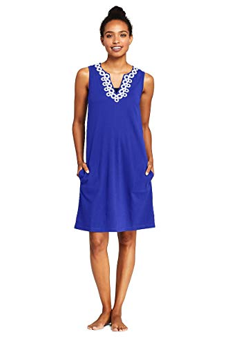 (Lands' End Women's Cotton Jersey Embelished Sleeveless Tunic Dress Swim Cover-up)
