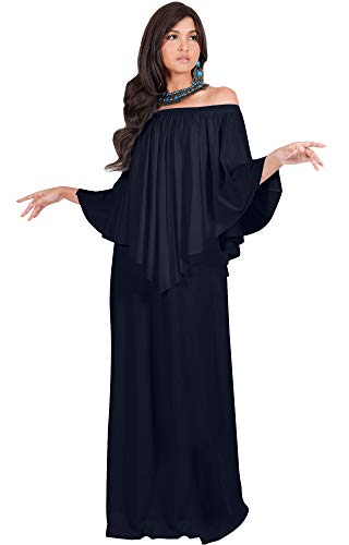 KOH KOH Plus Size Womens Long Strapless Shoulderless Flattering Cocktail Evening Off The Shoulder Cold Sexy Evening Flowy Formal Slimming Gown Gowns Maxi Dress Dresses, Dark Navy Blue 3XL 22-24