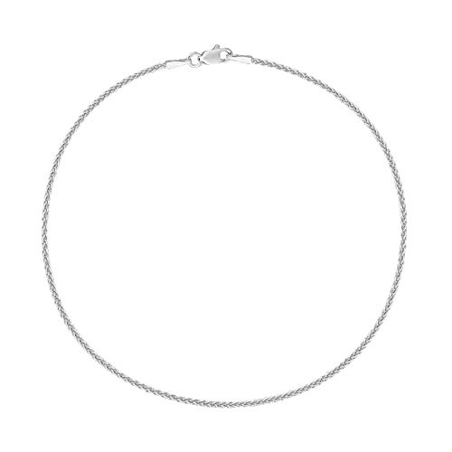 Ritastephens 14k Real White Gold Wheat Chain Anklet Lobster Lock Ankle Bracelet 1.1 Mm 10 Inches