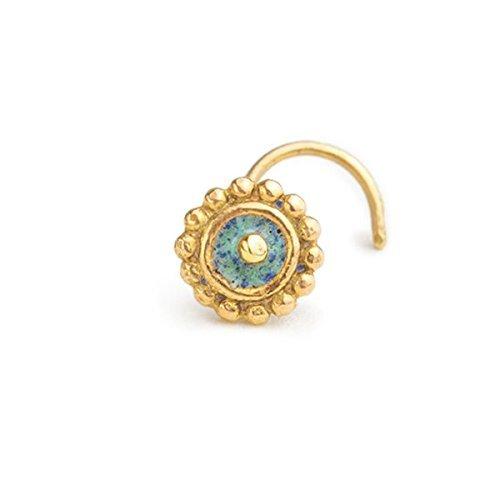 Gold Tragus Earring Stud: Tribal 14k Enameled Ear Piercing Jewelry in 16 Gauge by Studio Meme by Studio Meme