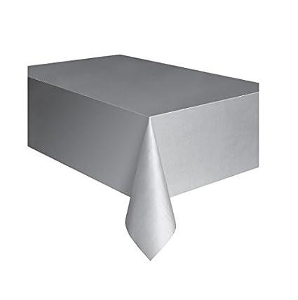 Silver Plastic Tablecloth, 108u0026quot; ...