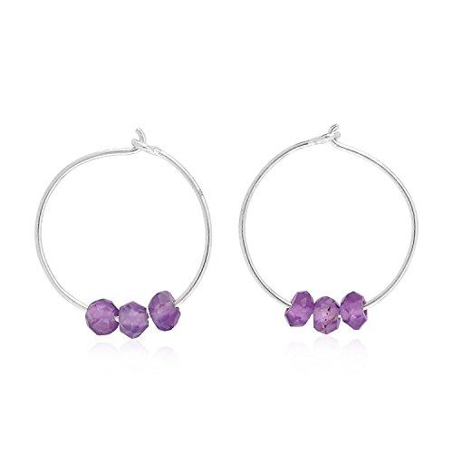 18K White Gold Natural Amethyst Beads Dainty Huggie Hoop Earrings for Women (12 mm Diameter)