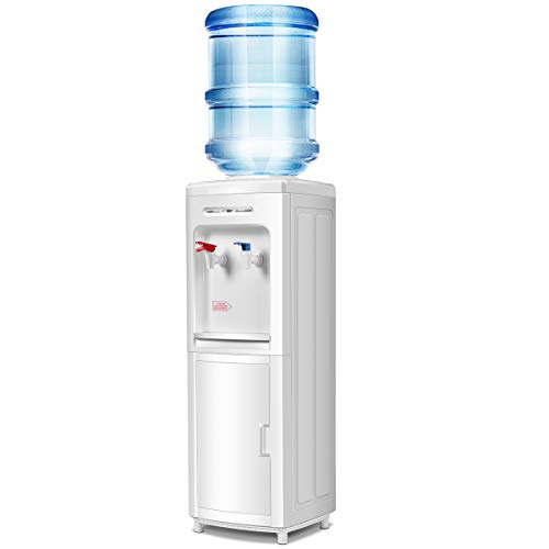 Giantex Top Loading Water Cooler Dispenser 5 Gallon Normal Temperature Water And Hot Bottle Load Electric Primo Home with Storage Cabinet, White (5 Gallon Water Dispenser)