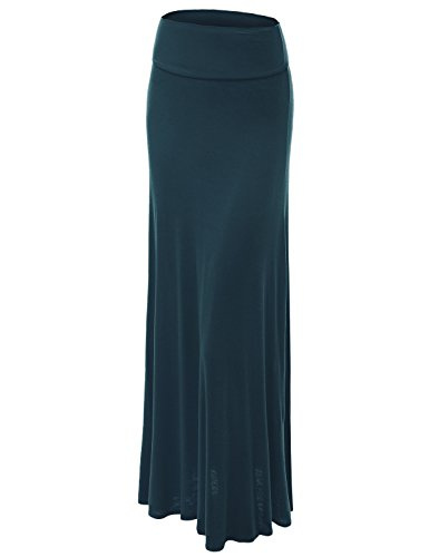 (Lock and Love WB670 Womens Fold-Over Maxi Skirt XL Teal)