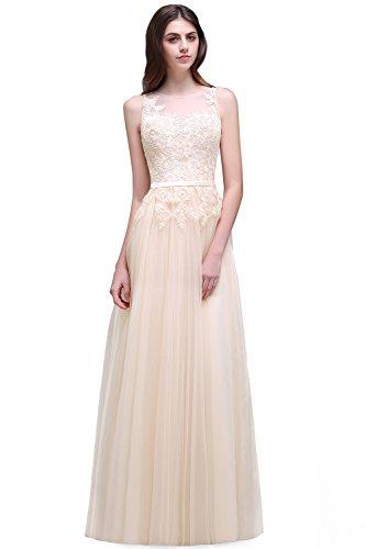 Babyonline Women Sheer Lace Illusion Back Evening Gowns Long Ball Gala Dress