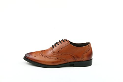 Perforated Shoes Flat Leather Wingtip TDA Oxford Lace up Brown Women's Vintage Dress 5Uggqx7Fw