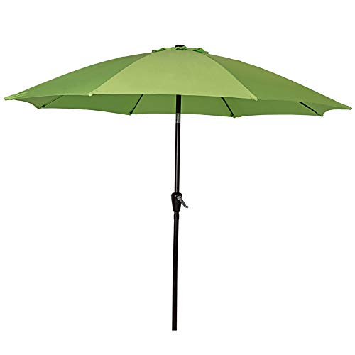 Sundale Outdoor 9 Feet Aluminum Market Umbrella Table Umbrella with Crank and Push Button Tilt for Patio, Garden, Deck, Backyard, Pool, 8 Fiberglass Ribs, 100% Polyester Canopy (Lime Green)