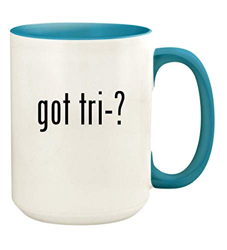 got tri-? - 15oz Ceramic Colored Handle and Inside Coffee Mug Cup, Light Blue ()
