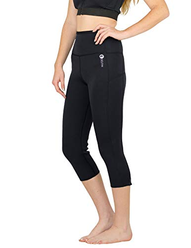 Delfin Women's Heat Maximizing Neoprene Workout Capri, Black, S