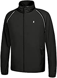 Little Donkey Andy Men's Quick-Dry Running Jacket UPF 50+ Cycling Jacket with Detachable Sleeves and