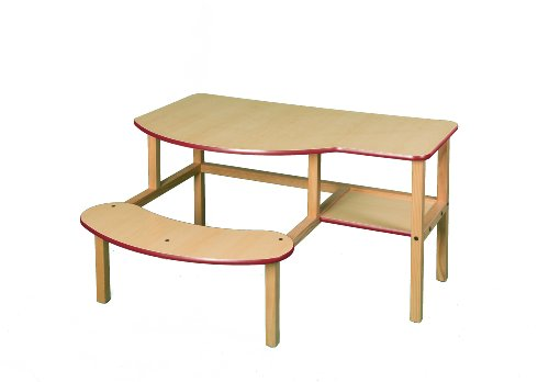 Grade School Computer Desk - Wild Zoo Furniture Childs Wooden Computer Desk for 1 to 2 Kids, Ages 2 to 5, Maple/Red