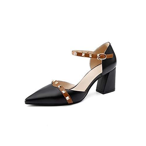 Comfort Shoes Heels Spring Summer Black Almond Black Chunky Women'S QOIQNLSN Nappa Heel Leather amp; w0x58Rngq