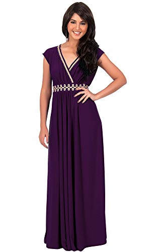 KOH KOH Petite Womens Long Formal Bridesmaid Wedding Party Short Cap Sleeve Evening Cocktail Summer Sun Sundress Sundresses Gown Gowns Maxi Dress Dresses for Women, Purple S 4-6 (1) ()
