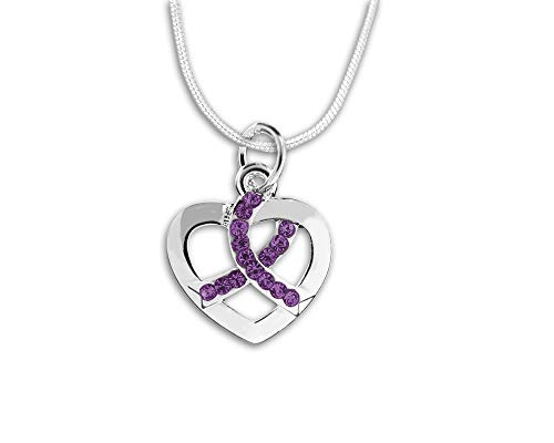 Silver Heart Crystal Purple Ribbon Necklace in a Gift Box (1 Necklace - Retail) ()