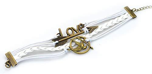 Hunger Game Bracelet-Mockingjay Bird, Arrow, Love, Bronze Bracelet, Braided Rope, Leather, Fashion Wrist Ornament, (Bracelet Hunger Games)