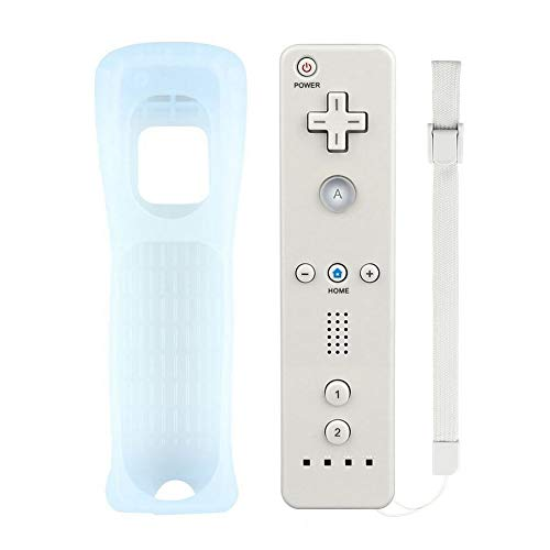 Mribo Wii Remote Controller, Replacement Remote Game Controller with Silicone Case and Wrist Strap for Nintendo Wii and Wii U (White)