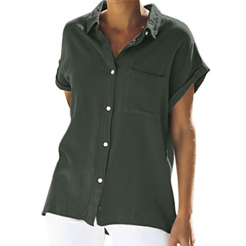 Creazrise Womens Casual Solid Color Tops Pocket Short-Sleeved for sale  Delivered anywhere in USA