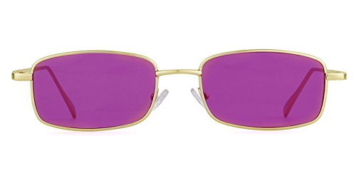 Lens Gold Glasses Retro Sunglasses Women Frame ADEWU for Fashion Men Square Purple Rwvnq6z