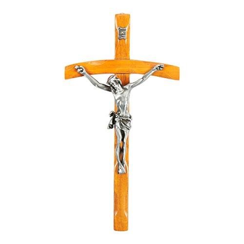 Jesus Cross Crucifix Figurine - Religious Wooden Figure of Christ's Crucifixion, Catholic Holy Cross Decoration - 6 x 11.9 x 1.6 (Christ Wood Cross)