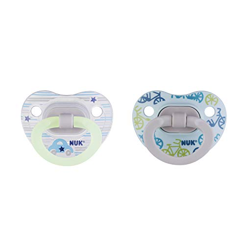 Pacifier Nuk (NUK Glow-in-The-Dark Orthodontic Pacifiers, Boy, 6-18 Months, 2-Pack)