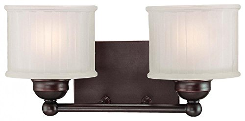 Minka Lavery Wall Sconce Lighting 6732-167, 1730 Series Reversible Glass Damp Bath Vanity Fixture, 2 Light, 200 Watts, ()