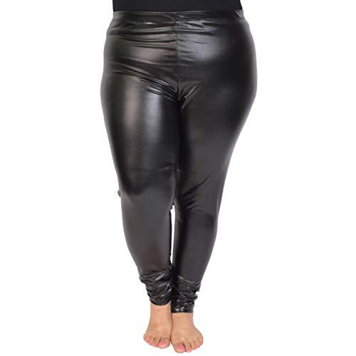 Stretch is Comfort Women's Plus Size Metallic Foil Leggings Black X-Large