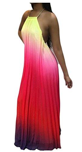 Jaycargogo Gradient Dos Nu Sans Manches Boho Impression Femmes Maxi Longue Robe 1