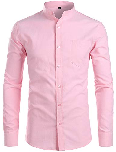 ZEROYAA Men's Hipster Banded Collar Solid Slim Fit Long Sleeve Oxford Dress Shirts with Pocket Z112 Pink X-Large