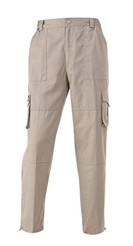 Men's Cargo Pants Elastic Waistband Loose Fit Military Outdoors Work (33 Light Khaki)