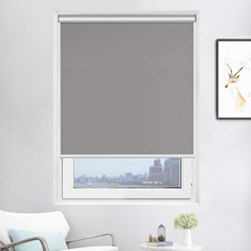 Acholo Blackout Roller Shades Black Roller Blinds for Windows 48 inch x 72 inch, Cordless Window Roller Shade for Home, Grey