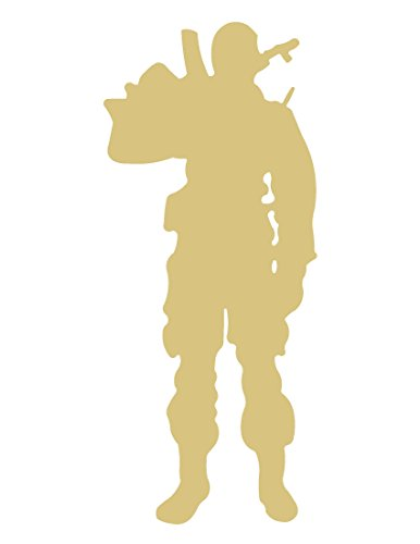 Army Soldier Cutout Unfinished Wood Warrior GI Fighter Infantry Military Combat MDF Shape Canvas Style 1