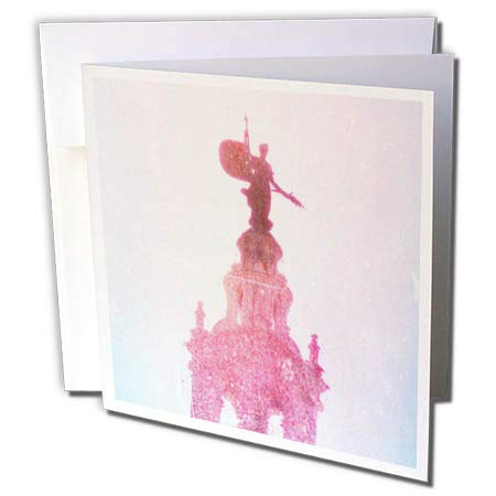 3dRose Cassie Peters Kansas City - Plaza Watch, Statue in Pink Digital Art - 6 Greeting Cards with envelopes (gc_288452_1)