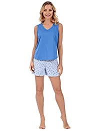 Pink Lady Women's Knit Short Sleeve Top Boxer Short 2 Piece Pajama Set