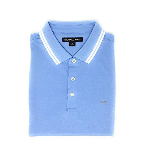 (Michael Kors Mens Pima Soft Touch Classic Fit Polo Shirt Short Sleeve Pique (Steel Blue/White, Medium) )