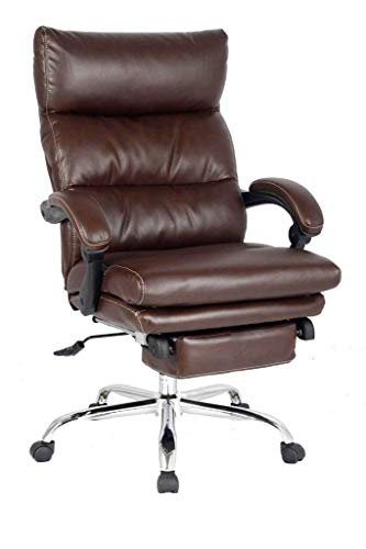 (MDL Furniture Recliner Office Chair High Back Executive Chair with Any Angle Recline Lock System Napping Chair with Footrest Bonded Leather(Brown))