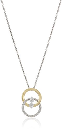 18K Yellow Gold over Sterling Silver double interlocking circle Pendant Necklace (1/10cttw), 18