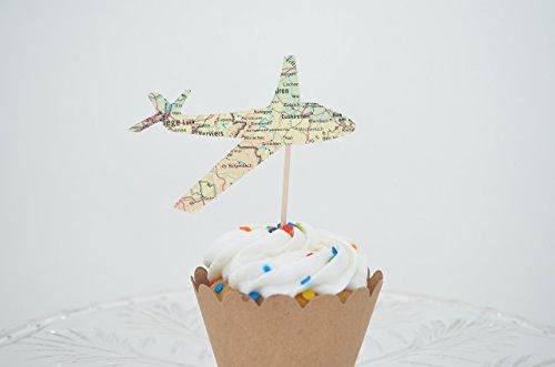 (36 Handmade Vintage Map Airplane Cupcake Toppers)