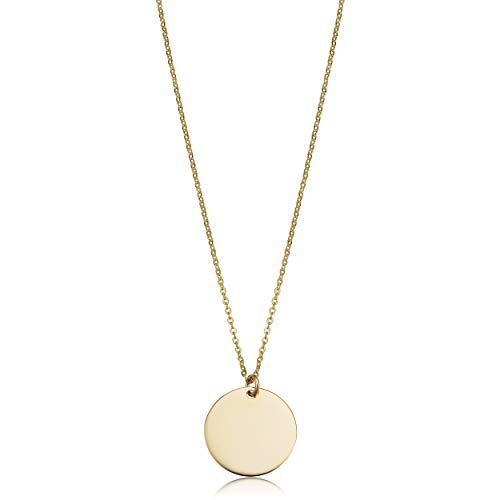 (Kooljewelry 14k Yellow Gold 10mm Round Disc Adjustable Length Necklace (adjusts to 17