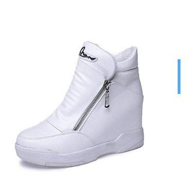 Botas de la mujer confort PU Otoño Invierno confort informal plana en blanco y negro Black